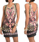 Ladies women black multicolor print bodycon club party dress size 8 S  NEW