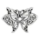 Sterling Silver Butterfly Pentacle Pentagram Ring sz 4-15  Dryad Design Wicca