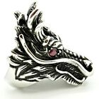 Men's Stainless Steel Chinese Dragon Head w/ Pink Eyes #120