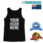 100% COTTON CUSTOM PRINTED BLACK SINGLET PERSONALISE YOUR OWN TEXT OR DESIGN