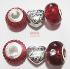 New Rhona Sutton Sterling Silver Love Heart Red/Shamballa Crystal Charm Beads