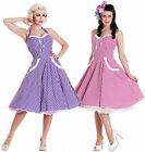 Hell Bunny Charlotte Gingham Pink Purple Party Dress 50s Prom Vintage Swing New
