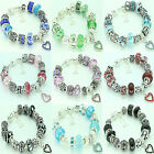 LADIES GIRLS CHARM BRACELET SPARKLE BEADS PERSONALISE ANY INITIAL BIRTHDAY GIFT