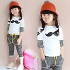 Kids Toddlers Girls Bearded Image Imitated Leather Striped Tops Shirt 3-8Y T382