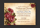 RED ROSE VINTAGE SHABBY CHIC STYLE  PERSONALISED WEDDING INVITATIONS