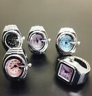 Fashion Stretch Elastic Silver Tone Mini Quartz Watch Finger Ring band 5 colors