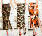 Women Slim Camo Army Camouflage Printing Split Long Skirt Dress Waist Elastic