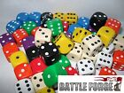 x10 14MM OPAQUE SPOT DICE - 9 COLOURS - D6 - WAR GAMING - TEACHING EDUCATIONALx