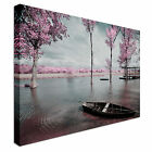 Tree Blossom Pink Sunset Seascape Canvas Wall Art Print Large + Any Size