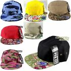 5 Panel Hat Racer Cap Strap Back Flat Brim Skate Camp Army Plain Five Camo NEW