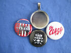 """The Clash  handmade new 3 Interchangeable Button Inserts w/ 18"""" Black Necklace"""
