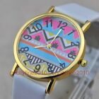 New Fashion Color Big Ripples Gold Dial Leather Band Women Quartz Wrist Watch