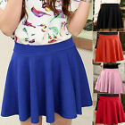 Women Sexy High Waist Pleated Short Plain Flared Sheer Skater Fippy Mini Skirts