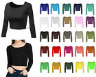 LADIES WOMENS ROUND NECK LONG SLEEVE CROP TOP T SHIRT ALL SIZES