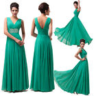 CHIC Deep V Neck Long Chiffon Sleeveless Slim Formal Evening Party Prom Dresses