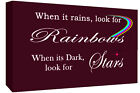 WHEN IT RAINS LOOK FOR RAINBOW QUOTE - PLUM - Canvas Wall Art Print- ALL SIZES