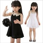 Bridesmaids Girl Baby Lace Floral Kids Sequin Lapel Dress Casual  Princess Skirt