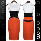 Fashion White Orange Black Pencil Slim Cocktail Midi Dress LC6273