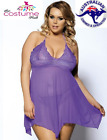 Size 8 - 22 Plus Size Purple Sheer Top Lingerie Babydoll Night Dress