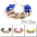 Statement Womens Celebrity Gold Silver Neon Chunky Curb Chain Charm Bracelet