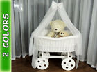 WICKER BABIES CRIB COT CRADLE MOSES BASKET With Drape HAND MADE mattress ROCKING