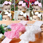 Baby Girl Kids Toddler Pearl Headband Rose Bow Lace Hairband Flower Headdress 5O