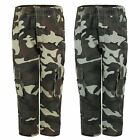 KIDS CAMOUFLAGE MULTIPOCKET TROUSERS BOYS ARMY PRINT PANTS CARGO COMBAT AGE 4-14