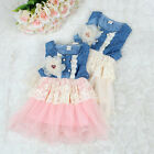 Baby Girl Princess Tulle Skirt Denim Dress Kids Lace Layered Party Dress 0-5Year