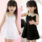 Korea Kids Girls Lovely Sequins Collar Sleeveless Vest Princess Lace Party Dress