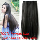 hair extension clip in one piece full head set 100% human hair straight new 2015
