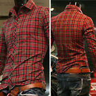 Classic Slim Fit Red Checkered Long Sleeve Casual Dress Shirt Mens SIZE S M L XL