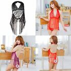 Sexy Lingerie New Womens Tassel Lace Sheer Backless Tops+G-String Sleepwear Set