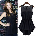 LADIES CHIFFON PEPLUM SLEEVELESS SKATER TOP WOMEN FRILL PEPLUM FLARED TOPS SHIRT