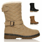 WOMENS LADIES GIRLS QUILTED FLAT LOW HEEL FUR LINED SNOW WINTER CALF BOOTS SIZE