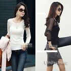 Womens Long Sleeve Mesh Patchwork Bottoming Shirt Crew Neck Casual T-shirt Tops