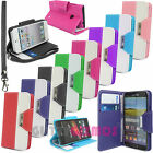 LEATHER WALLET BOOK CARD SLOTS CASE COVER FOR MOBILE PHONES & FREE WRIST STRAP