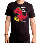 Sad Tyrannosaurus T Rex Dinosaur Worst DJ ever can't Mix short arm T-shirt top