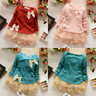 HOT Casual Baby Girls Knit Top Kids Lace Bow Princess Dress Tulle Skirt 0-3Y