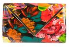 New Floral Multicolor Patent Clutch Bag Flower Print Glossy Vintage Look Fashion
