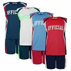 KIDS TOP & SHORTS SET OFFICIAL PRINT VEST GIRLS BOYS BASKETBALL SPORTS 3-14Y