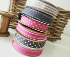 Grosgrain Ribbon Grey Pink Gingham Spotty Stitched Shabby Chic Style