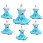 Embroidered Elsa 1-6 Birthday Blue Princess Pettiskirt Costume Party Dress 1-6Y