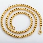 """4MM MENS Chain Womens Unisex Yellow Gold Filled GF Box Link Necklace18""""-36inch"""