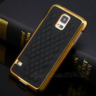 Luxury  Designer Leather Gold Chrome Hard Case Cover For Samsung Galaxy S5 I9600