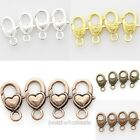 6Pcs Silver Gold Copper Bronze Heart Lobster Clasps Connectors For DIY 14x27mm
