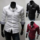 Men Slim Fit Casual Shirts Tops Luxury Formal Dress Shirts Long Sleeve 3 Colors