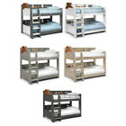 Domino Wood Storage Bunk Bed 3ft Single with 4 Mattress and 4 Colour Options
