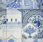 Blue Fabric Cotton Material Porcelaine Country Vintage Style White Sold by Metre