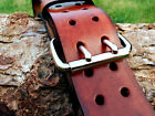 Handmade Genuine Brown Leather  Belts 2 Prongs 2 Inch Wide size up 50