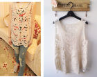 Womens Sexy Semi  Sheer Sleeveless Embroidery Floral Lace Crochet Top Blouse Tee